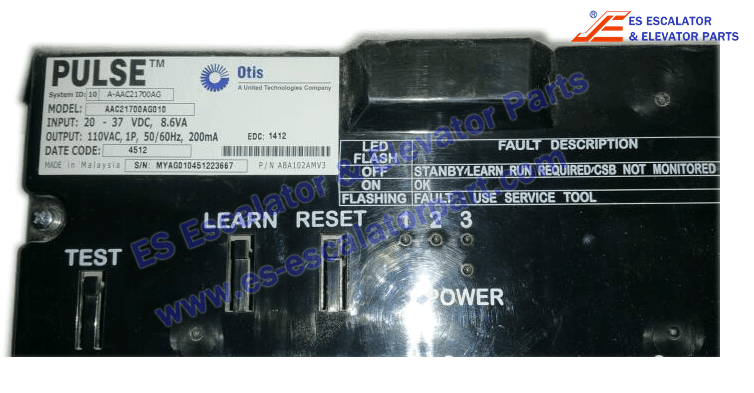 OTIS AAC21700AG010 Door Control Pulse Monitor for elevator