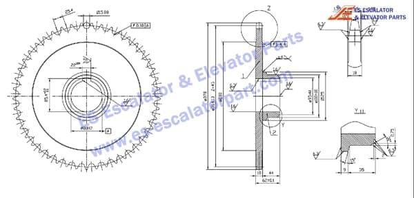Thyssenkrupp escalator sprocket wheel for handrail drive