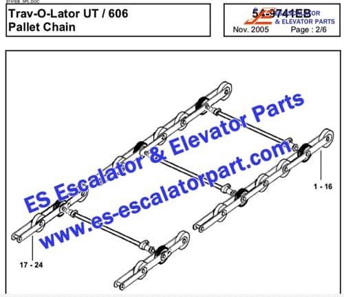OTIS Escalator Parts GAA26350J Pallet chain 606 NCT