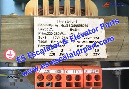 Schindler Escalator Parts SSG50606070 TRANSFORMER 1PH 205VA PR380V SK110/22V