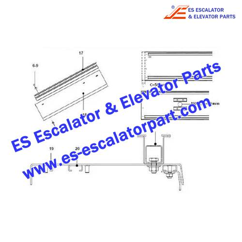 Escalator Parts XAA402AFW02 Handrail guide