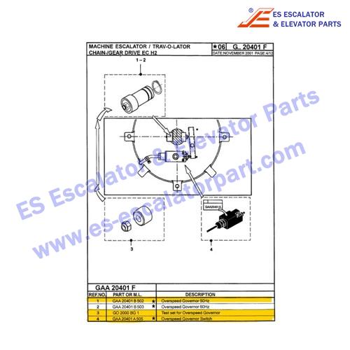 OTIS Escalator Parts GAA20401 B502 Overspeed Govemor 50HZ