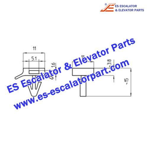 Schindler Elevator 258083 Socket snap-on hole DIA6.3 f.tie 4.8 PA